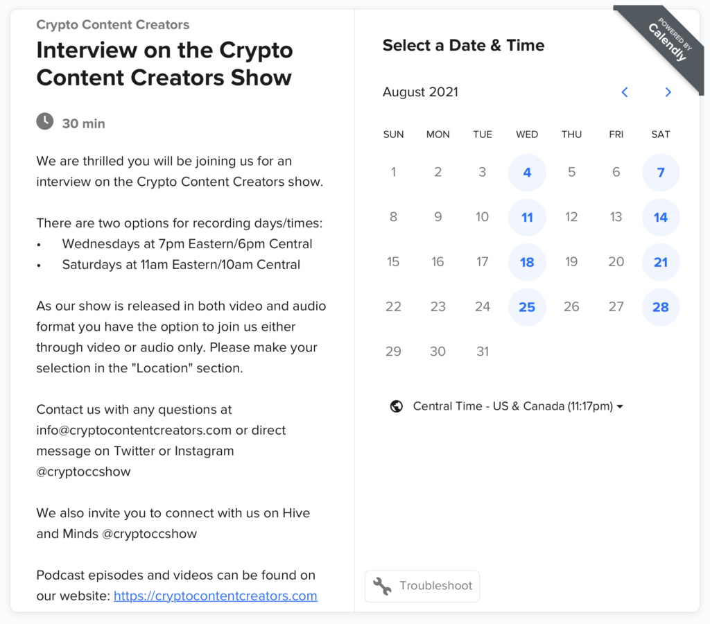 Calendar Booking screenshot for guests