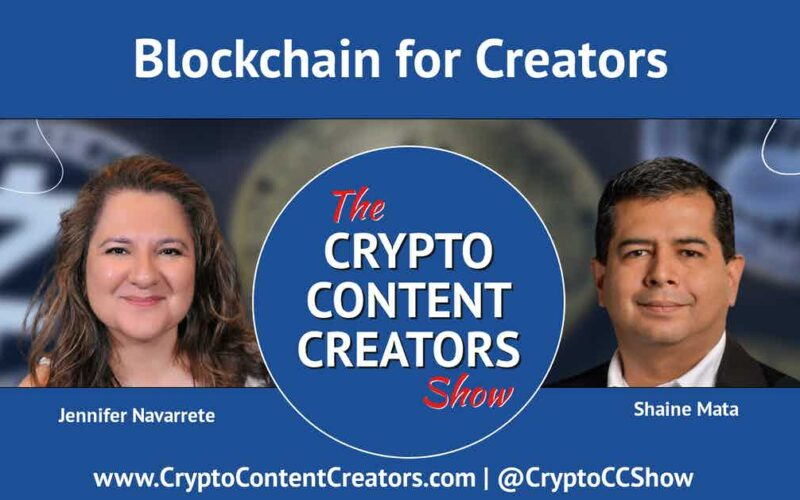 """image of Jennifer Navarrete and Shaine Mata with Crypto Content Creators logo In the center and the words """"Blockchain for Creators"""" at the top"""