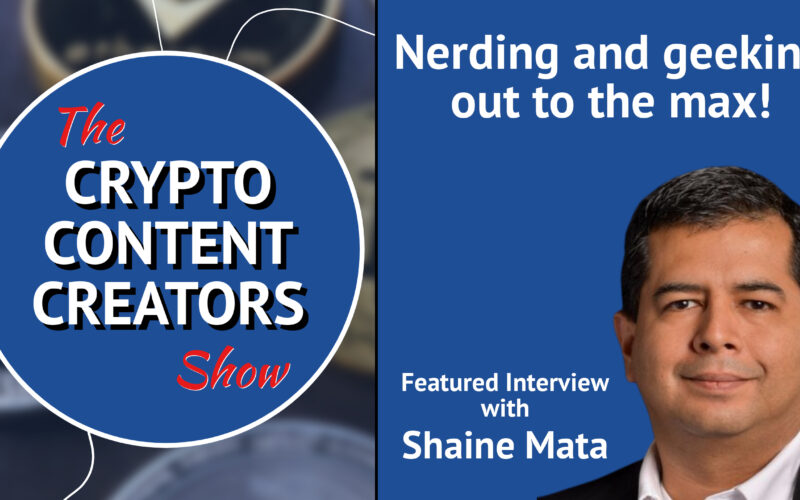 """promo image with show logo, headshot of Shaine Mata with the words, """"Nerving and geeking out to the max!"""" featured interview with Shaine Mata"""
